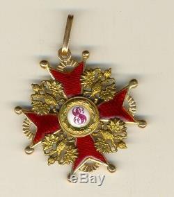 Insigne Médaille Impériale Russe Antique Ordre St. Stanislav Or (1493a)