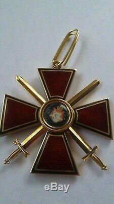 Insigne Médaille Impériale Russe Antique Ordre St. Vladimir Original Gold 3 Degrés