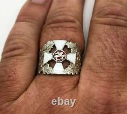K. Faberge Russie Impériale 88 Argent Anneau Émail Croix St. George