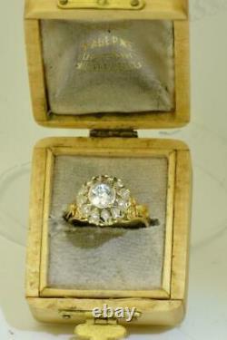 Magnifique Antique Impériale Russe Faberge 18k Or & 1ct F / Fl Bague Diamant. Boîte