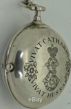 Musée 18 C Impériale Russe Cathrine II Médaille D'argent Verge Fusée Montre Oignon