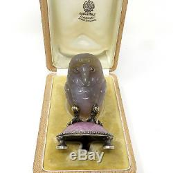 Nyjewel Fabergé Impériale Russe Argent Jade Sapphire Owl Paperweight
