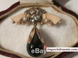 Old Russian Imperial Or 56 Broche Afanasiev Pour Fabergé Russie Antique Bijoux