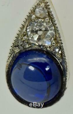 Or, 23ct Diamants & Broche Sapphire Famille Impériale Russe Royale Fabergé 18k. Boîte