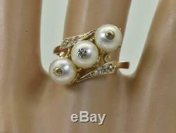 Or Antique Impériale Russe, Diamants Et Perles De La Mer Bague Dames De C1908