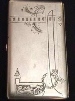 Original Russe Argent 84 Cigarette Case 2-a Artel Pour Faberge Imperial Antique