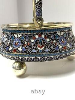 Panier Russe De Sucre D'argent D'émail. 84 Argent Moscou 1892 Antique Impérial