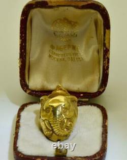 Pendentif Éléphant En Forme D'oeuf De Pâques En Forme D'oeuf De Pâques 14k Or Faberge Russe Impérial Antique. Boîte