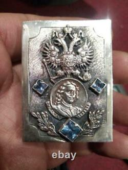 Peter I Antique Imperial Russian Sterling Silver 84 Matchstick Case Signé 39.5g