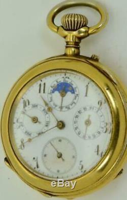Poche Doré Calendrier Complet Antique Rare Montre Pour Le Marché Impériale Russe De La C1890