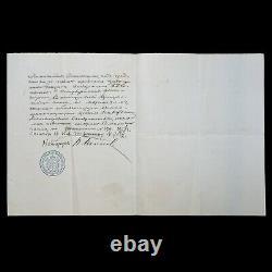 Rare 1908 Impériale Russe Signé Scellé Document De Nicolas II Wax Noblesse Timbre