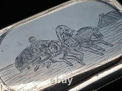 Rare Antique Impérial 84 Russe Niello Argent Cigarette Vesta Cas Cheval Sleigh