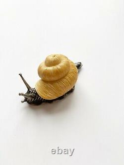 Rare- Antique Imperial Russian Faberge Animal Silver Snail In Box