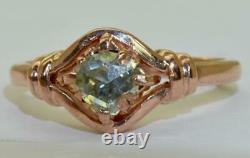 Rare Antique Impériale Russe 14k Or Rose & 0,5ct Rose Taille Bague Diamant C1890