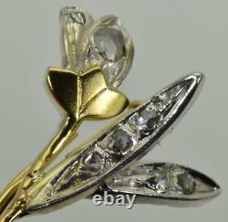 Rare Antique Impériale Russe 18k Or (72) Et Broche Fleur De Diamants Dans La Boîte C1890