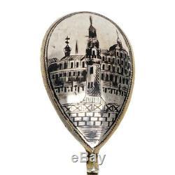 Rare Antique Impériale Russe Argent 84 Niello Or Wash Cuillère Kremlin Scène Ru