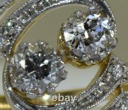 Rare Antique Impériale Russe Art-nouveau 18k Or&diamonds Dames Bague Et Boîte