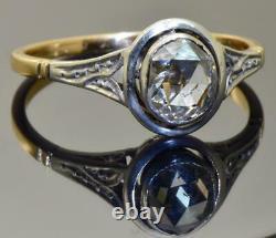 Rare Antiquité 19ème C. Imperial Russian 14k Gold (56)&0.7ct Bague De Fiançailles Diamant