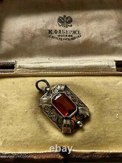 Rare Conception Faberge Imperial Russe 88 Argent Broch Avec Pierre En Boîte