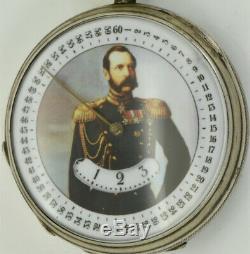 Rare Imperial Argent Russe Montre De Poche Horaire Numérique C Russo-turque Guerre