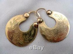 Rare Impériale Russe Boucles D'oreilles Antique Or Rose 56 / 14k Bijoux Femmes