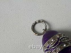Rare K. Faberge Design Imperial Russe 84 Argent Pendentif Egg Avec Perle