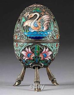 Rare Originale Russe Argent Impérial Et Cloisonnée Egg