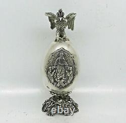 Rare Russian Imperial 88 Silver Easter Egg Icon Par August Holming Faberge Entreprise