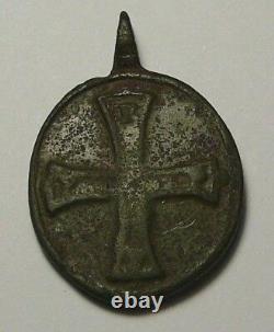 Rare Siècle Xivth Icône Pendentif Archange Michel Et Croix Impériale Russe