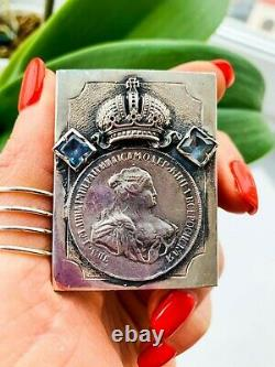 Rare Vintage Imperial Russian Sterling Silver 84 Matchstick Case Signé 36.5 Gr