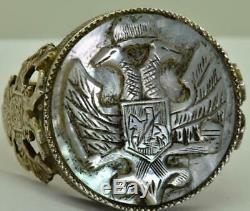 Remarquable 19ème C. Antique Impériale Russe 84 Argent Et Nacre De Perle Bague Camée