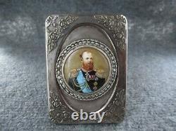 Russe Imperial 84 Silver Enamel Miniature Portrait Tsar Alexandre III Dans Le Cadre