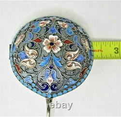 Russe Imperial Klingert Silver 84 Shaded Enamel Cloisonne Spoon Hallmark Large