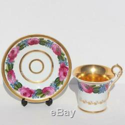 Russian Imperial Porcelain Factory Popov Floral Peinture Thé Soucoupe Coupe Du Cabinet