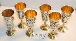 Russian Soviet Royal 875 Silver Cup Vodka Shots Goblet Calice Kovsh Bowl Egg