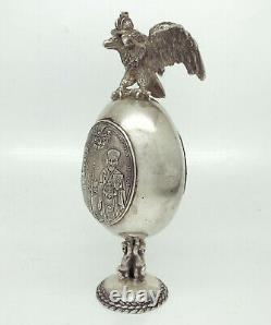 Russie Impériale 88 Argent Icône D'oeufs De Pâques Par August Holming Faberge Cabinet