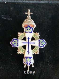Russie Impériale Émail Argent Romanov Tercentenaire Croix A La Vielle Russie