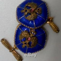 Sterling Impérial D'argent Russe Conception Fabergé Boutons De Manchettes Royale Rare