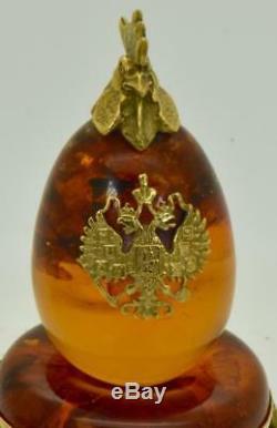 Très Beautiqful Antique Argent Impérial Russe Et Ambre Fondu Aux Oeufs De Pâques