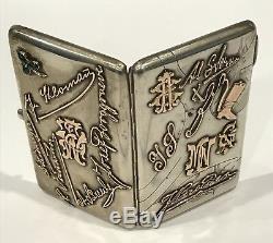 Très Rare! Antique Russian Imperial Or Silver Script Cigarette Case Moscou