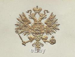 Tsar Alexandre III Romanov Antique Imperial Déjeuner Royal Russe Menu 1890