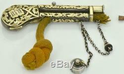 Un D'une Sorte Antique Impériale Russe Argent Et Or 24 Carats Plus Léger En Forme De Pistolet