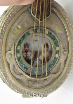 Un D'une Sorte Impériale Russe Moser Prix Montre & Argentait / Boîte Malachite Mandoline