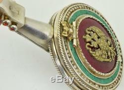 Unique 19ème C. Impériale Russe 84 Argent, Émail Et Perles Mandoline Montre De Forme