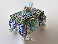 Unique Antique Magnifique Impériale Russe 84 Vermeil Et Émail Cloisonné Oiseaux
