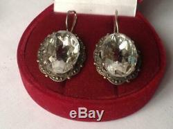 Urss Soviétique Royal Antique Vintage Russe Boucles D'oreilles Oreille En Argent Sterling 875