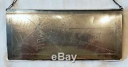 Véritable Impériale Russe. 835 Argent Sac De Soirée Cadre Gravé Spider Web Fly