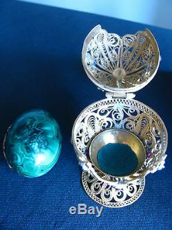 Vintage Impériale Russe Argent Filigrane Malachite Egg Moses Orthodoxes
