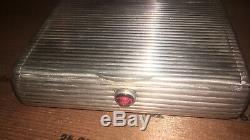 Vintage Russe Fabergé 900 Argent Ruby Push Button Lift Cigarrette Case