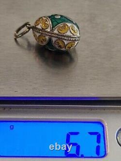 Vtg Russe Impérial 960 Argent Sterling Gilt Enamel Egg Charm Pendentif Croix